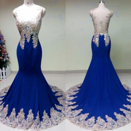 Custom Made Royal Blue Evening Dres..