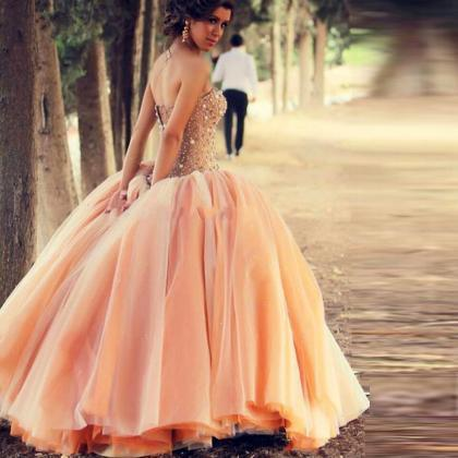 New 2016 Charming Peach Color Cheap Quinceanera Dresses For 15 ...