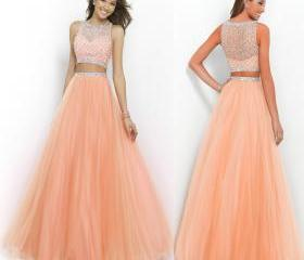 Peach Two Piece Long Prom Dresses Beaded Scoop Neck Sleeveless A-Line Floor-length Blue Formal/Evening Gowns
