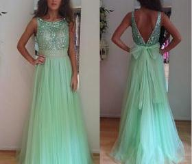 Custom made 2015 Sexy A Line Light Green Crystal Beaded Evening Dresses Long Bow Back Tulle Backless Prom Dresses Plus Size