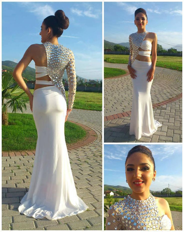 Sexy White Long Prom Dresses,2015 Mermaid One Shoulder Long Sleeve ...