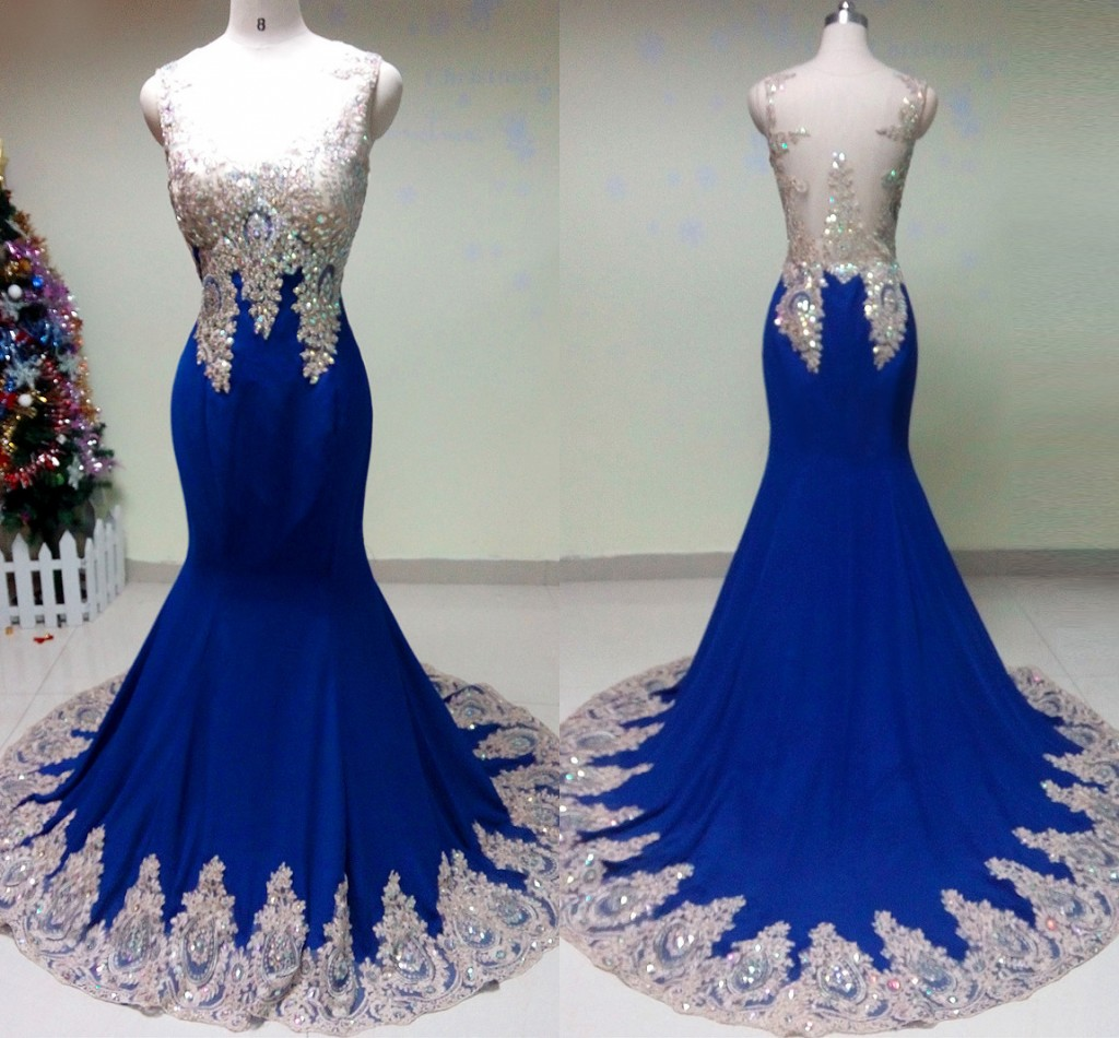 Custom Made Royal Blue Evening Dresses,Long Satin Formal Party Dresses,Mermaid Appliques Beaded Prom Gowns,Sheer Back Women Evening Dresses