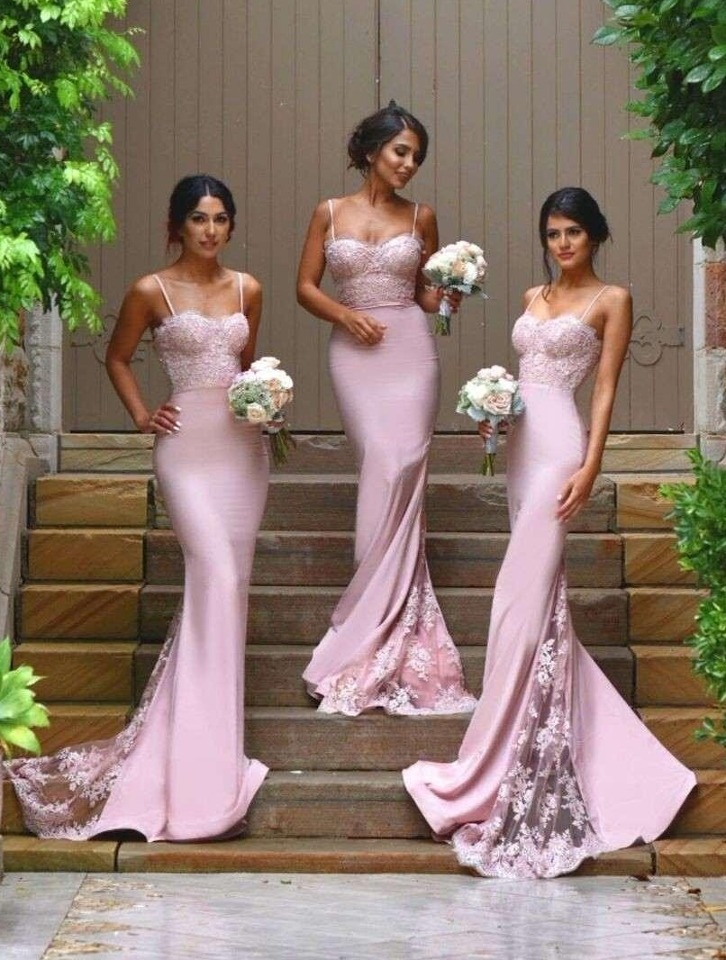 New design sexy spaghetti straps mermaid bridesmaid for Sexy fitted wedding dress
