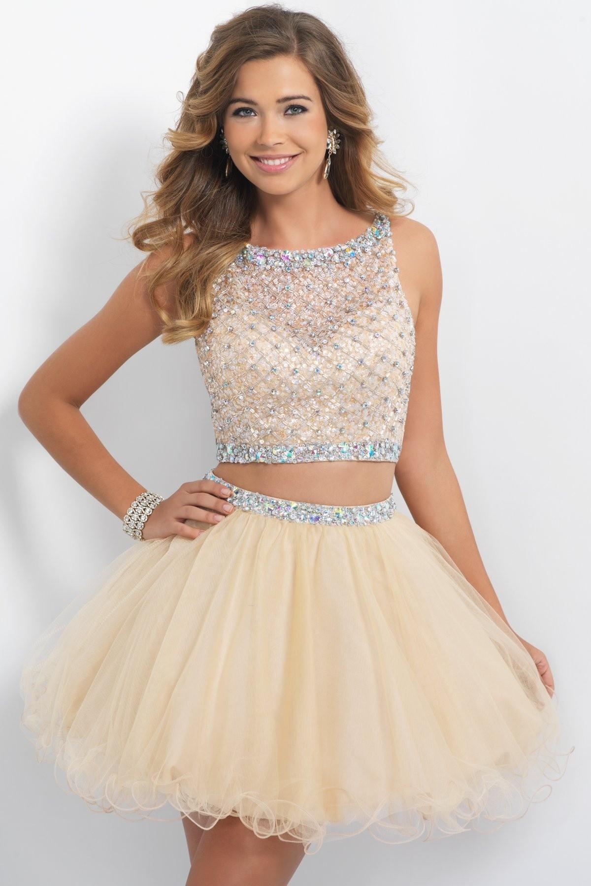 Two Pieces Homecoming Dresses Short Prom Dresses Champagne Beaded ...
