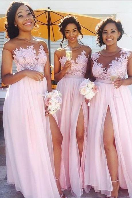 Pink Lace Applique Illusion Sweetheart Neckline Long Chiffon Mermaid Bridesmaid Dress with Slit