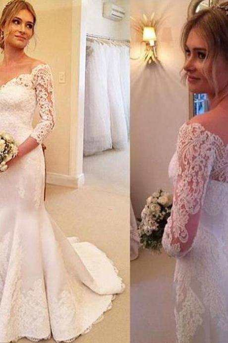 Sexy White Lace Mermaid Wedding Dresses Off the Shoulder Wedding Dresses with 2/3 Sleeves Bridal Dress