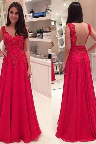 Sexy A-line Red Chiffon Long Prom Dresses Plus Size Floor Length Evening Party Dresses Long Graduation Dresses
