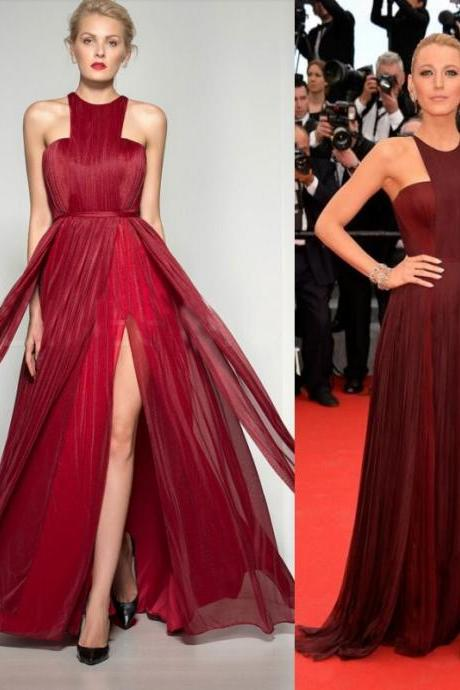 2015 Sexy Gossip Girl Blake Lively Red Carpet Celebrity Dresses Chiffon High Split Evening Gowns Formal Prom Party Dress