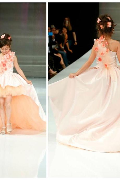 Hot Sale High Low Light Peach One Shoulder Elegant Girls Pageant Dresses Tulle Satin Flower Girl Dresses Kids Birthday Party Dresses