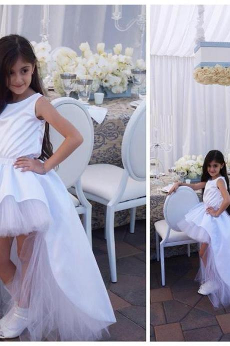 New White Elegant High Low Flower Girl Dresses Ball Gown Child Cheap Birthday Party Dresses Custom Made Child Wedding Party Dresses Prom Gowns
