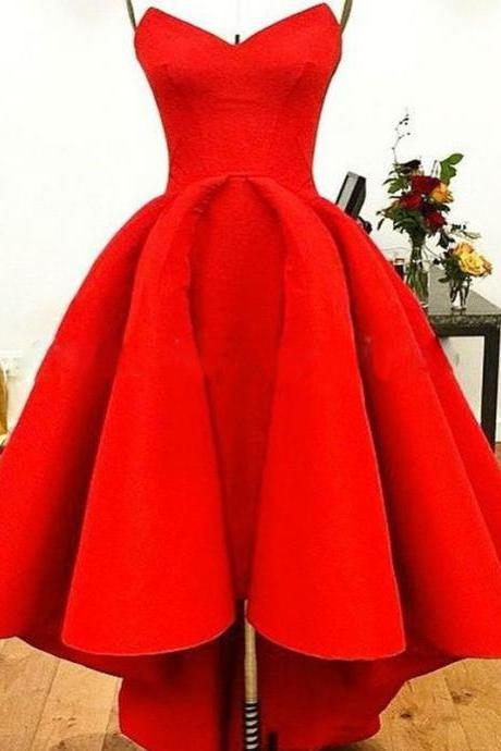 Fashion Simple Designer Prom Dresses Arabic V Neckline High Low Red Long Eveinging Dresses Robe De soiree Satin Formal Party Dresses