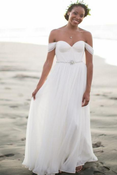 Newest White Off The Shoulder Chiffon Beach Wedding Dresses Beaded Fashion Summer Bridal Wedding Gowns