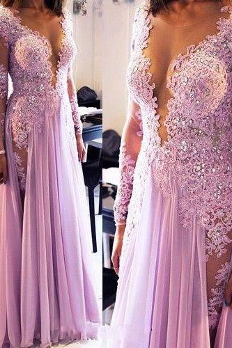2016 Lilac Long Prom Dresses Long Sleeves Deep V Neck Lace Beaded Chiffon Sexy Evening Gowns with Lace Appliques Beads