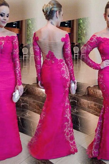 Fuchsia Sexy Off the Shoulder Prom Dresses Mermaid Lomng Sleeve Lace Satin Evening Party Dresses 2016 Formal Gowns