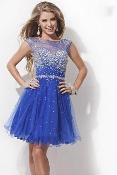 Short Beaded Sexy Ruffles Hole Back Junior Mini Homecoming Dresses Royal Blue Tulle Prom Party Dress Graduation Gowns