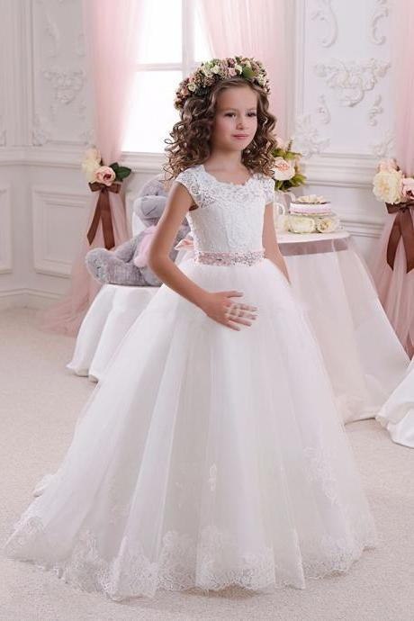 Hot White Flower Girl Dresses for Weddings Lovely Lace Bow Girls Pageant Dresses First Communion Dresses for Little Girls