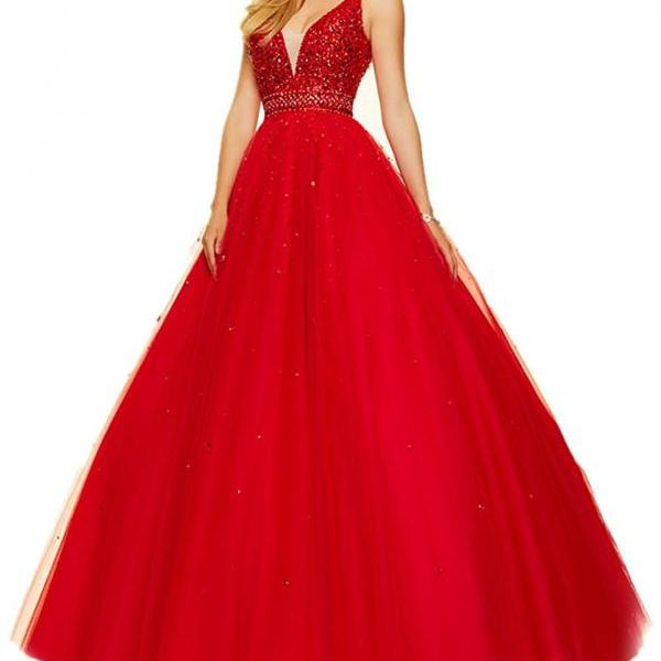 V-neck Beaded Long Red Prom Gowns Prom Dresses