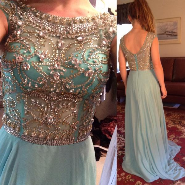 2016 Sexy long Chiffon Prom Gowns A-line Scoop Cap Sleeve Backless Crystals Formal Party Dresses