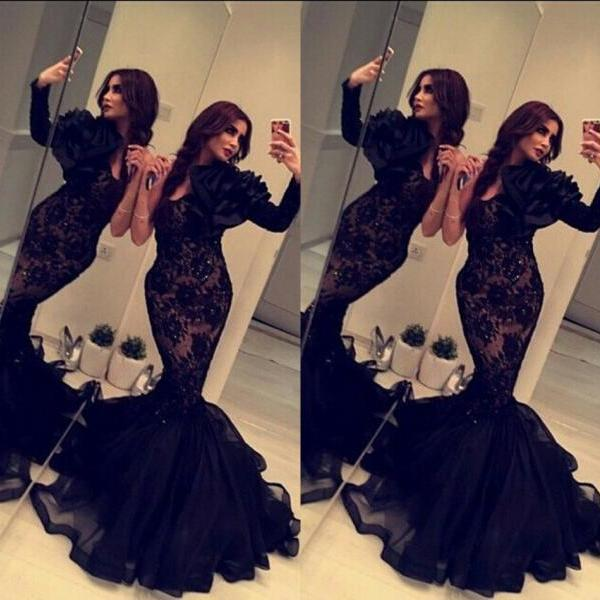 2016 Black Lace Dress Mermaid Long Sleeve Prom Dresses with Hand-Made Flower Beaded Long Tulle Evening Gowns Women Formal Dresses