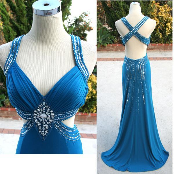 2016 New Arrival Blue Sheath sweetheart Spaghetti Backless Sequined Crystals Floor Length Chiffon Party Dresses Prom Dress Gowns