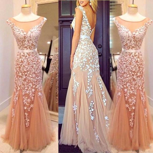 2016 Sexy Sheer Tulle Blush Long Prom Pageant Dresses ,Gorgeous Lace Appliqued Evening Dresses, Mermaid Formal Party Dresses