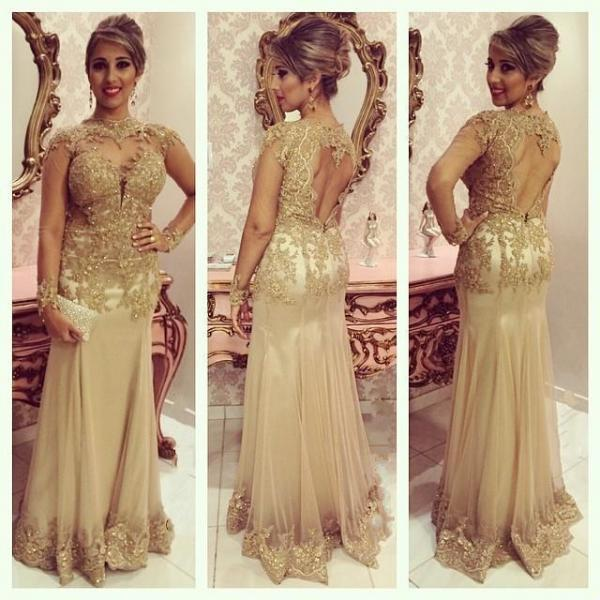 2016 Attractive Long Sleeves Prom Dresses, Sweetheart Sheer Neck Lace Tulle Open Back Backless Evening Gowns,Women Dresses,Formal Party Dresses