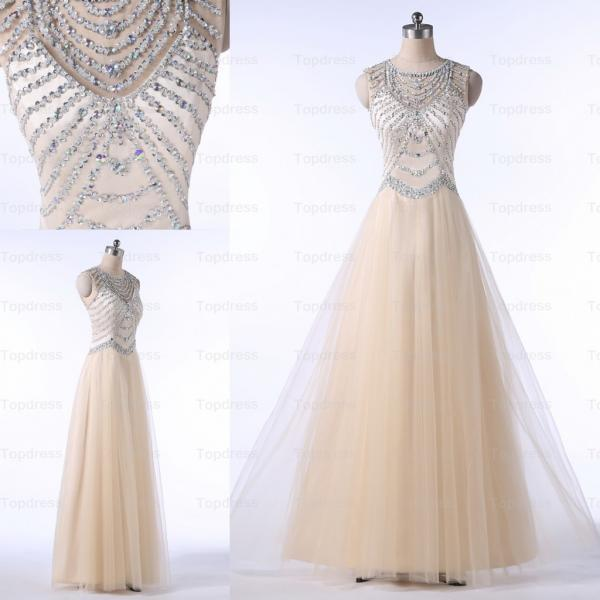 Champagne Fashion Prom Dresses 2015 A-line Sheer Neck Sequined Beaded Long Tulle Evening Party Dresses