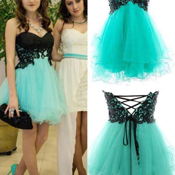 Cute Appliques And Tulle Prom Dresses, Short/Mini Prom Dresses ...