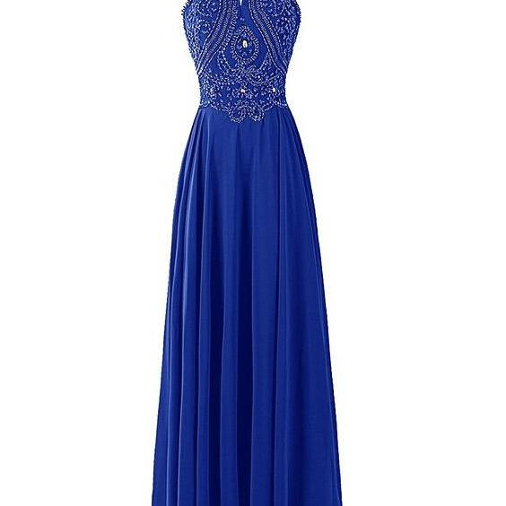 Royal Blue Beaded Chiffon Long Prom Dress with Halter Neckline and Open Back