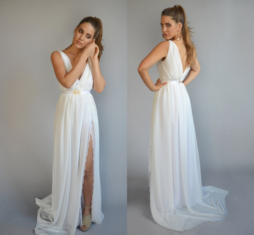 2016 New Ivory Long Chiffon Beach Wedding Dresses A Line V Neck Backless Pleat Bride Dresses